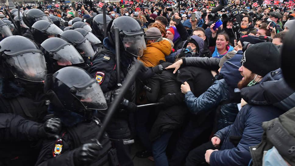 Акция протеста в Москве. 31 января 2021 года. Фото: Александр Петросян / Коммерсант